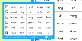 Dolch Word List Second Roll and Read Mat - usa, america, dolch, word list, roll and read, mat, second
