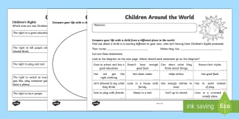 Universal Children's Day: Children Around the World Activity Sheet