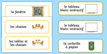 Classroom Furniture labels French - french, Classroom furniture, furniture label, door, chair, table, window, desk, carpet, bin, dustbin, whiteboard, chalkboard, classroom areas