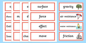 Year 5 Forces Scientific Word Cards - year 5, forces, scientific, word cards
