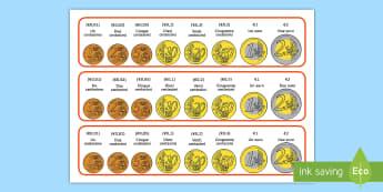 Striscie con gli euro a monete Attività - denaro, monete, euro, contare, centesimi, spesa, italiano, italian, materiale,scolastico,