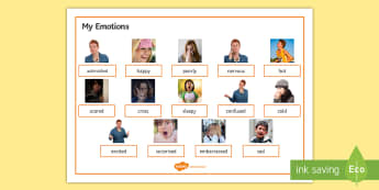 Emotions Word Mat - feelings, SEN, express myself, social skills, happy, sad