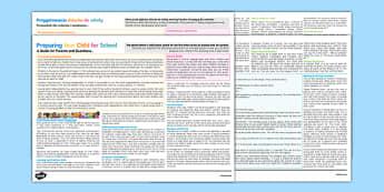 Preparing Your Child for School: A Guide for Parents Leaflet Polish Translation - polish, Nursery Transition, reception transition, pre-school transition