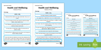 CfE Health and Wellbeing (Substance Misuse) First Level Child Friendly Assssment Tracker - Curriculum for Excellence, HWB, HWB 1-38a, HWB 1-42a, tracker, progression, I can