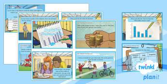 PlanIt Y3 Statistics Challenge Cards - statistics, data handling, table, tally chart, bar chart, pictogram, Carroll diagram, Venn diagram,