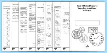Learning from home Maths Workbooks Year 3 Measures Activity Booklet - Learning from Home Maths Workbooks, measures, money, time, change, length, weight
