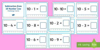 Subtraction from 10 Number Line Challenge Cards - Subtraction Up to 10 with a Number Line Challenge Cards,subtraction, up to 10, number line, challeng