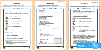 KS1 Ramadan Differentiated Comprehension Go Respond Activity Sheets - Develop pleasure in reading, motivation to read, vocabulary and understanding, Understand what they