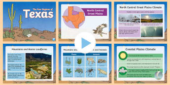The Four Regions of Texas PowerPoint - United States History, State history, Texas, Regions, Landforms, Vegetation, Animals, Texas Regions,