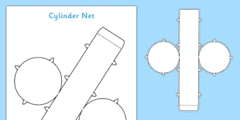 3D Net for Cylinder - cylinder, net, 3D, shape, cut out, maths, 3D shape, net, cylinder