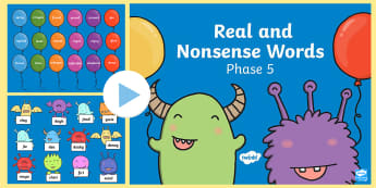 Phase 5 Phonics Real and Nonsense Words Popping PowerPoint - phase five, phonics, reading, phoneme, grapheme, digraph, trigraph, real words, nonsense words, alie