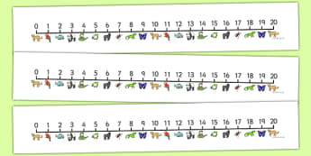 Jungle & Rainforest Number Line (0-20) - Jungle, Rainforest, Maths, Math, numberline, numberline display, vines, snake, forest, ecosystem, rain, humid, parrot, monkey, gorilla
