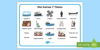 Mat Geiriau Y Titanic - titanic, cymraeg, titanic welsh, titanic cymraeg. llong, suddo, hanes, ,Welsh