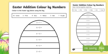 Easter Addition Colour by Number  - CfE Early Level Easter Themed Maths Activities, addition, colouring, adding, maths