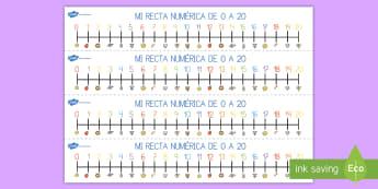 Mi recta numérica: 0-20 - números, 0-20, cifras, contar, cuenta, operaciones, número, recta numérica, recta, numérica, num