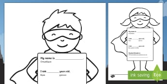 All About Me Superhero Activity Sheet English/Greek - Ourselves, All about me, family, Ks1, Y1, Year 1, EYFS, Reception, Growing, growth, EAL, Greek, GR