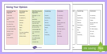 Giving Your Opinion Word Mat - AQA GCSE Specific Question Resources, structure, language, non-fiction, non fiction, opinion pieces,