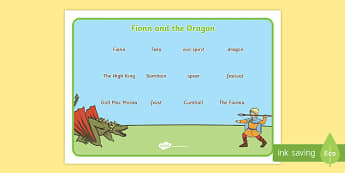 Fionn and the Dragon Vocabulary Mat - Irish history, Irish story, Irish myth, Irish legends, Fionn and the Dragon, vocabulary mat, vocabulary, words