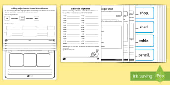 Adjectives Activity Sheet Resource Pack - adjectives, describe, description,describing, expanded noun phrases, spag, grammar, gps, adjectives