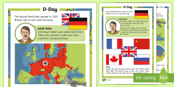 KS1 D-Day Differentiated Fact File - KS1 & KS2 D Day UK REQUESTS (6.6.17), 6th June 1944, ks1 history, ks1 reading, ks1 fact file, world
