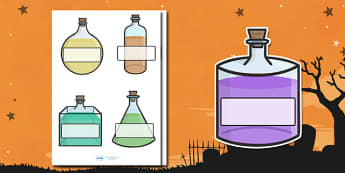 Editable Halloween Potion Bottles Self Registration - Halloween, pumpkin, witch, bat, scary, black cat, Self registration, register, editable, labels, registration, child name label, printable labels, mummy, grave stone, cauldron, broomstick, haunted