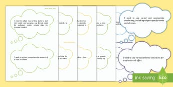 Writing Year 6 Assessment I Need To Thought Bubbles Display Cut-Outs-Welsh - Literacy and Numeracy Framework in Wales, Literacy, Assessment, assessment, display, writing, LNF, N