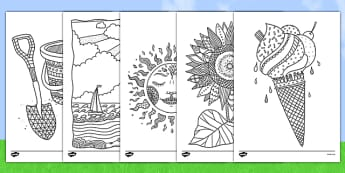 Summer Mindfulness Colouring Sheets - summer, mindfulness, colouring, sheets, seaside, holidays, seasons