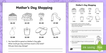 Mother's Day Shopping Activity Sheet - Mother's Day Maths, maths, mother, mother's day, mum, Year 2, number and algebra, money and financ