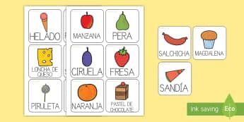 Tarjetas de vocabulario de la comida para ayudar en la enseñanza de: Le pequeña oruga glotona - lecto, leer, literatura infantil, cuentos, cuento, crecimiento, ciclo de vida, ciclo vital, bichos,  - lecto, leer, literatura infantil, cuentos, cuento,