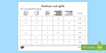 Rechnen mit Geld Arbeitsblatt: Erstes Rechnen (Addieren) - Mathematik: Zahlen, Geld, Addition, Rechnen, Euro, Kl.1/2, maths, numbers, money, addition, counting