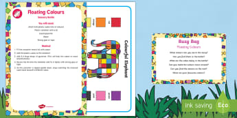 Floating Colours Busy Bag Prompt Card and Resource Pack - Elmer, David McKee, colour, sensory bottle, discovery bottle, exploration, observation, colour match
