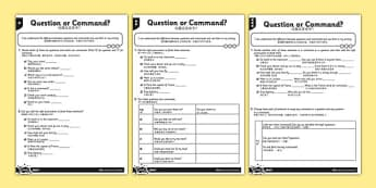 Question or Command Differentiated Activity Sheets Mandarin Chinese Translation - mandarin chinese, sentences, exclamation marks, question marks, command, bossy verbs, questions, worksheet