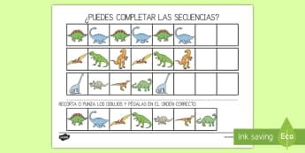 Ficha de actividad: Completar el patrón - Dinosaurios - Dinosaurios, pre-historia, dinos, tyranosaurio, estegosaurio, triceratops, proyectos, aprendizaje ba