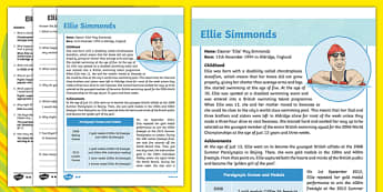 Great British Paralympians Ellie Simmonds Differentiated Fact File