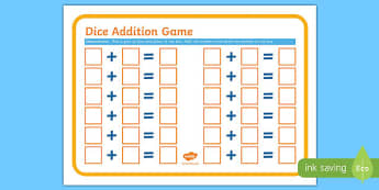 Dice Addition Game Sheet - adding, add, maths, numeracy, game, Addition, dice, mental strategies, game