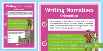 Writing Narratives  Orientation A4 Display Poster-Australia - narrative, orientation writing, narrative writing orientation, orientation set up, orientation displ