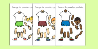 Cuerpo de pasador partido - spanish, Body parts, my body, nose, eyes, ears, mouth, arm, leg, finger, ourselves, all about me, my body, senses, emotions