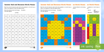 Summer Phase 5 Phonics Mosaic Activity Sheets - Worksheets, Read, Decode, Blend,  Solve, Digraph,grapheme