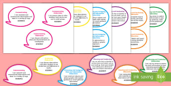 Year 2 Australian Curriculum Science Inquiry Skills: I Can Speech Bubbles - Australian science, grade 2, science outcomes, science assessment, walt, tib, wilf, learning outcome