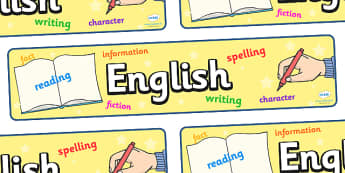 English Display Banner - English, display, banner, sign, poster, reading, writing, information, UK, Great Britain, language, languages, England, foreign, teaching