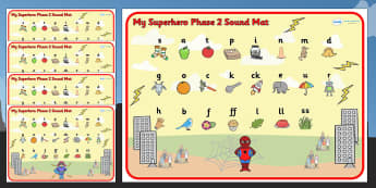 Superhero Themed Phase 2 Sound Mat - superheroes, phase two, mat