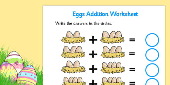 Eggs in Nests Addition Sheet - eggs addition, egg counting, eggs addition sheet, eggs in nests addition, chicken life cycle, on the farm, chicken eggs