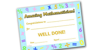 Amazing Mathematician Award Certificate - amazing mathematician award certificate, amazing, mathematician, maths, Math, super, certificates, award, well done, reward, medal, rewards, school, general, certificate, achievement