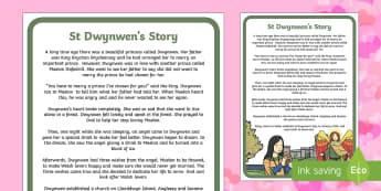 St Dwynwen's Story - St Dwynwen Story, Dwynwen, Wales love story, love, January 25th