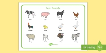 Farm Animal Word Mat - Early Childhood Animals, Animals, Pre-K Animals, K4 Animals, 4K Animals, Preschool Animals, Farm ani