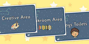 Leo Class Constellation Themed Classroom Area Signs - constellation