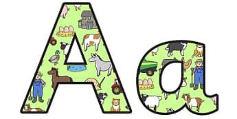 Farm Themed Display Lettering - farm display lettering, farm lettering, on the farm, farm themed alphabet, farm themed letters, on the farm display
