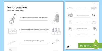 Comparatives Practice Activity Sheet - Spanish Grammar, comparatives, practice, exercises, activity, sheet, worksheet.