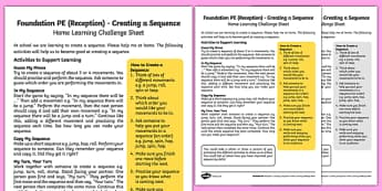 Foundation PE (Reception) - Creating a Sequence Home Learning Challenge Sheet - EYFS, PE, Physical Development, Planning
