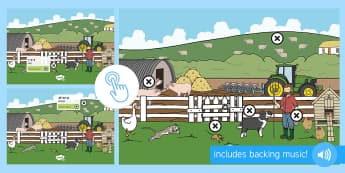 Farm Themed Oral Blending and Segmenting Phonics Picture Hotspots - Phase 1 Aspect 7: Oral Blending and Segmenting, letters and sounds, phonics, farm, reading, animals,
